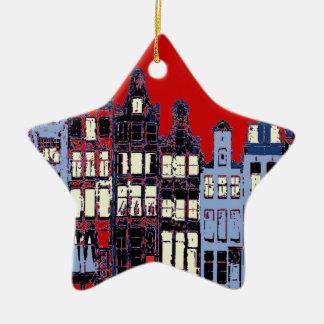 Dutch Town At Night Full Moon, Red Doors Ceramic Star Ornament