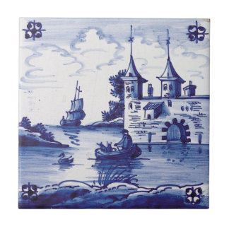 Dutch traditional blue tile