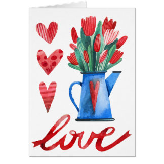 Dutch Tulips Flowers Red Hearts Love Card