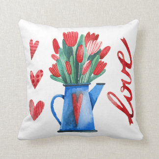 Dutch Tulips Flowers Red Hearts Love Pillow