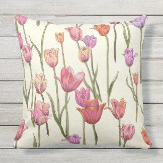 Dutch Tulips Outdoor Throw Pillow
