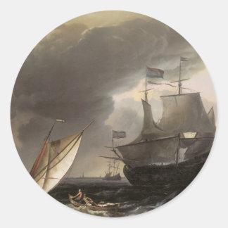 Dutch Vessels on a Stormy Sea c. 1690 Round Sticker