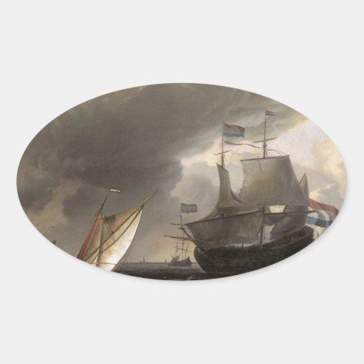 Dutch Vessels on a Story Sea 1690 Sticker