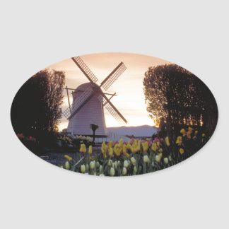 Dutch windmill & flowerbeds oval sticker