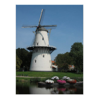 Dutch Windmill in Zeeland, Holland Photo Poster