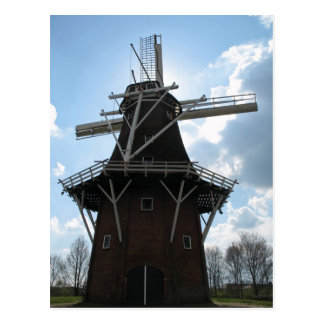 Dutch Windmill Silhouette Postcard
