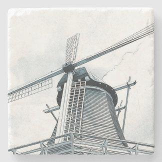 Dutch windmill stone beverage coaster