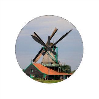 Dutch windmill village, Holland 3 Wallclock