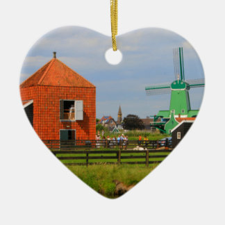 Dutch windmill village, Holland 4 Ceramic Ornament