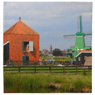Dutch windmill village, Holland 4 Napkin