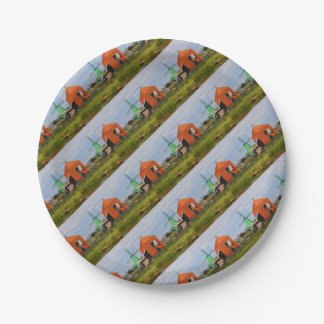 Dutch windmill village, Holland 4 Paper Plate