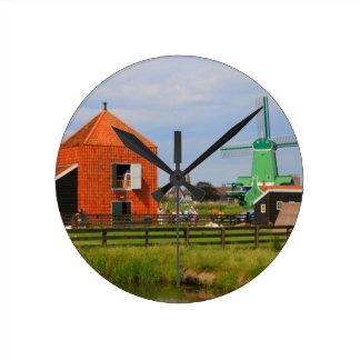 Dutch windmill village, Holland 4 Round Clock
