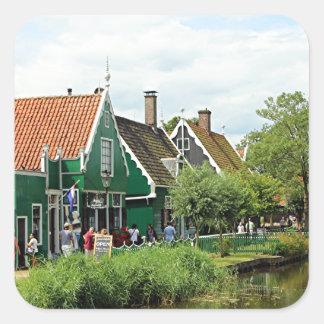 Dutch windmill village square sticker