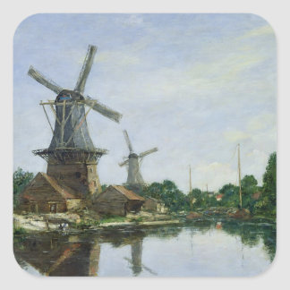 Dutch Windmills, 1884 Square Sticker