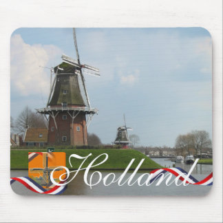 Dutch Windmills Holland Text Souvenir Mousepad