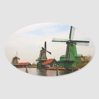 Dutch Windmills oval sticker