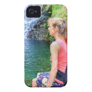 Dutch woman sitting on rock near waterfall Case-Mate iPhone 4 case