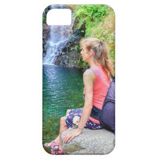 Dutch woman sitting on rock near waterfall iPhone 5 case
