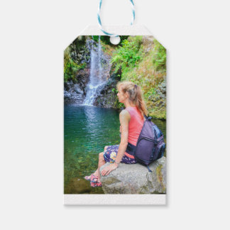 Dutch woman sitting on rock near waterfall pack of gift tags