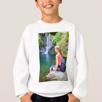 Dutch woman sitting on rock near waterfall sweatshirt