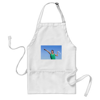 Dutch woman throwing boomerang in blue sky standard apron