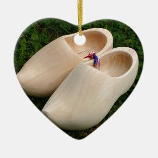 Dutch wooden clogs ceramic ornament