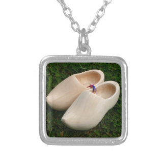 Dutch wooden clogs silver plated necklace