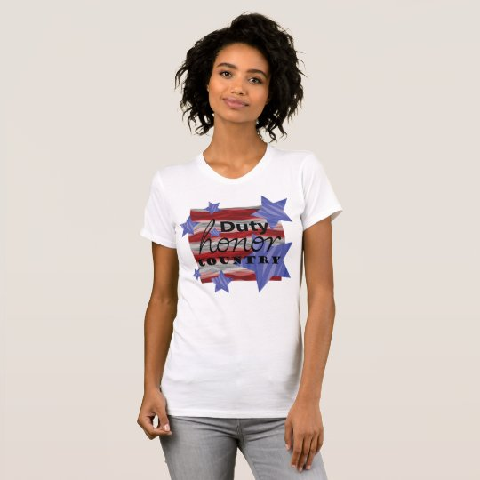 Duty Honour Country with Stars Womens T-Shirt