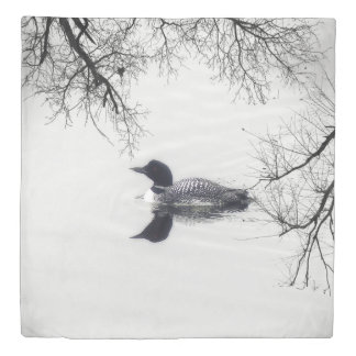 Duvet cover  Black and white loon on a lake