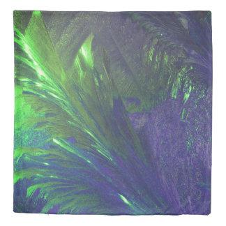 Duvet cover green purple tropical paradise