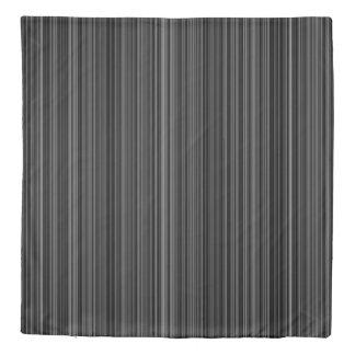 Duvet cover retro black silver grey stripe