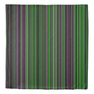 Duvet cover Retro stripe lime green purple