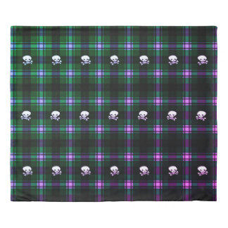Duvet cover Trendy green black plaid skull
