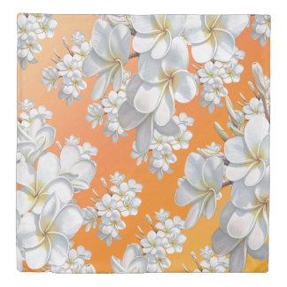 duvet cover White  flower blossom Orange