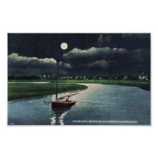 duxbury ma. blue river by moon light poster