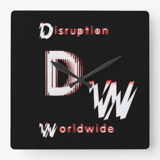 DW LOGO: Square Wall Clock logo/Name
