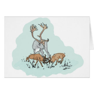 Dwarf Red Deer with Reindeer Card