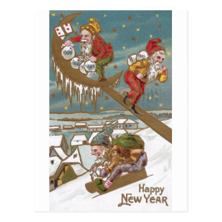 Dwarves Delivering Gold on New Year's Day Postcard