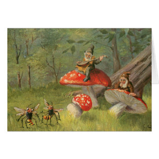 Dwarves on Red Mushrooms Card