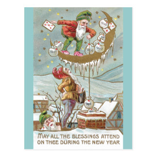 Dwarves with Sacks of Gold Vintage New Year Postcard