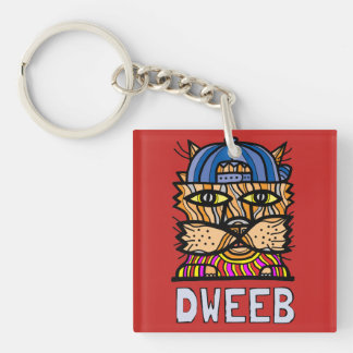 """Dweeb"" Square (double-sided) Keychain"