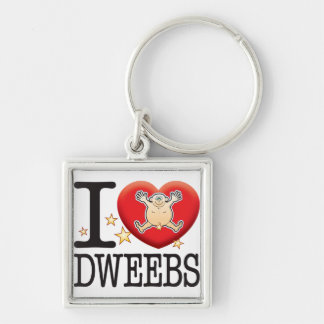 Dweebs Love Man Silver-Colored Square Keychain