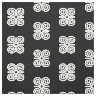 Dwennimmen Strength|Humility White Adinkra Symbol Fabric