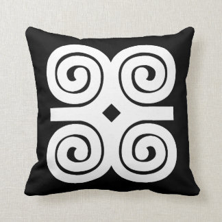Dwennimmen Strength|Humility White Adinkra Symbol Throw Pillow