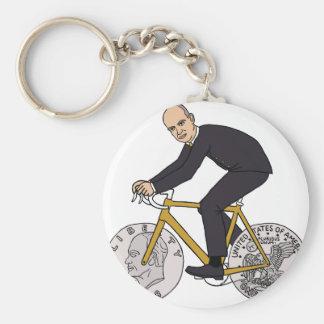 Dwight Eisenhower On Bike With Dollar Coin Wheels Basic Round Button Keychain
