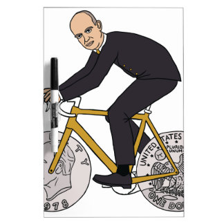 Dwight Eisenhower On Bike With Dollar Coin Wheels Dry-Erase Board