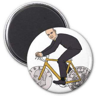 Dwight Eisenhower On Bike With Dollar Coin Wheels Magnet