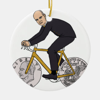 Dwight Eisenhower On Bike With Dollar Coin Wheels Round Ceramic Ornament
