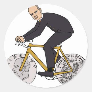 Dwight Eisenhower On Bike With Dollar Coin Wheels Round Sticker