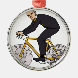 Dwight Eisenhower On Bike With Dollar Coin Wheels Silver-Colored Round Ornament